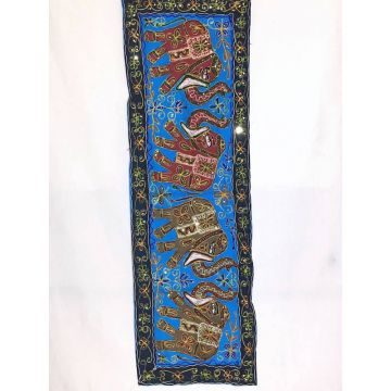 Tapisserie Murale Brodé Eléphants Inde NP-4/D