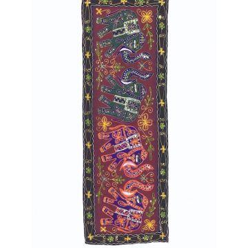 Tapisserie Murale Brodé Eléphants Inde NP-4/E