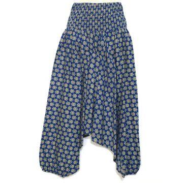 Sarouel Femme Imprimé Domka Bleu Smocké à la Taille