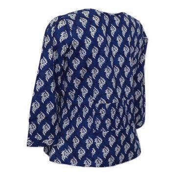 Top Anjad Manches trois-Quarts Imprimé Cedar Bleu