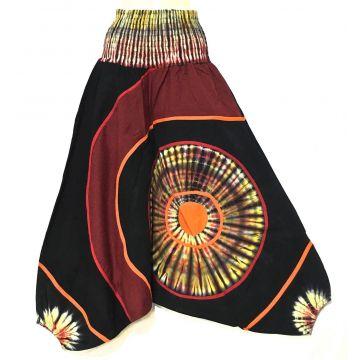 Sarouel Ethnique Boomla Batik Noir et Rouge