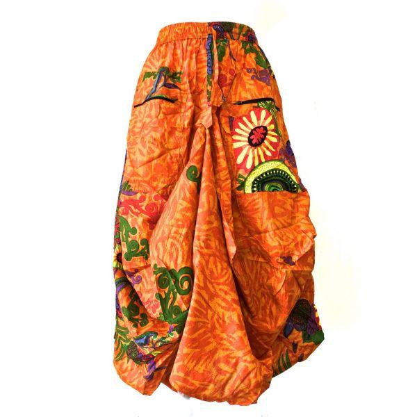 Jupe-Longue-Asymetrique-en-Coton-Imprime-Orange