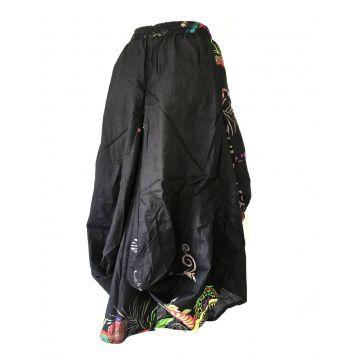 Jupe Longue Asymétrique en Coton Imprimé Noir