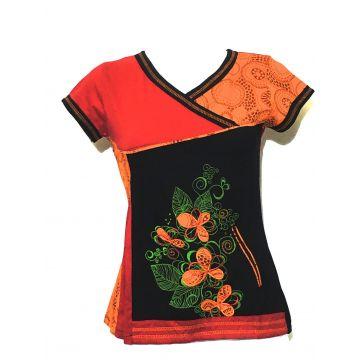 Top Manches Courtes Sakasi Imprimé Mandalas rouge