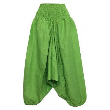 Sarouel Smocks Coton Uni Vert Anis