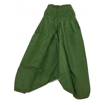 Sarouel Smocks Coton Uni Vert