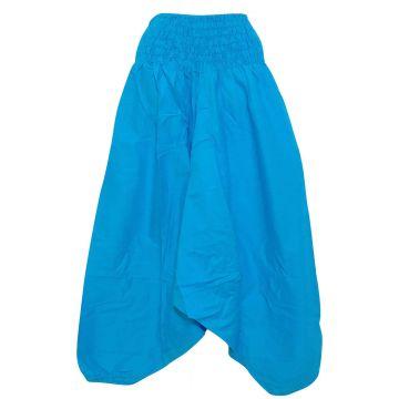 Sarouel Smocks Coton Uni Turquoise