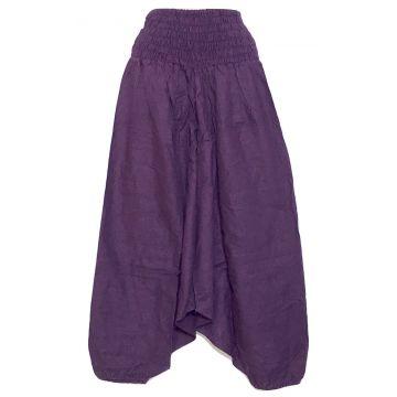 Sarouel Smocks Coton Uni Violet