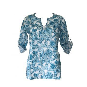 Haut Femme Vidisha Coton Imprimé Milcha Bleu