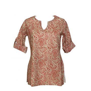 Haut Vidisha Coton Imprimé Milcha Rouge