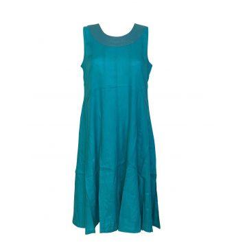 Robe Jaora Sans Manches Viscose Unie Turquoise