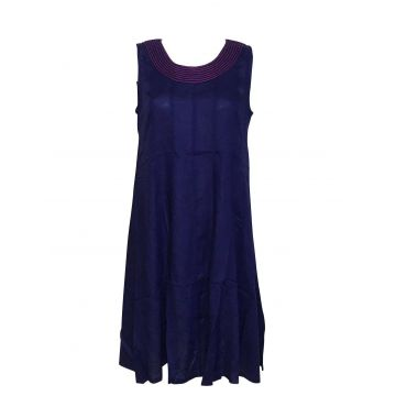 Robe Jaora Sans Manches Viscose Unie Navy Blue