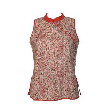 Manora Haut Femme Coton motif Milcha rouge