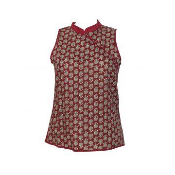 Manora Haut Femme Coton Imprimé Domka Bordeaux