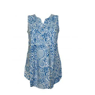 Tunique Kenda Femme Rayonne Imprimé Jalebi Bleu