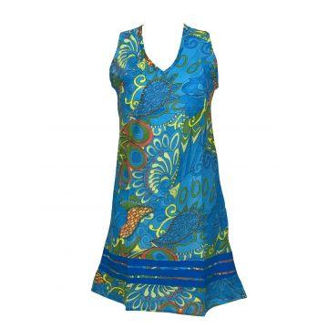 Robe Courte Marcel Imprimé Graphique Turquoise