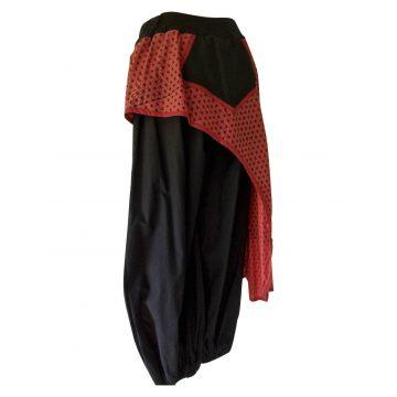 Pantalon Femme Jang avec Surjupe Imprimée Rouge