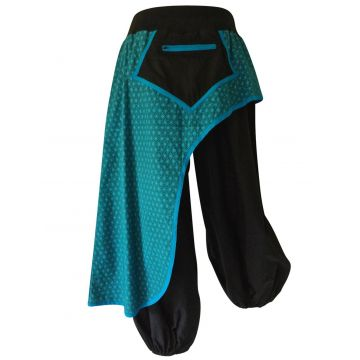 Pantalon Femme Jang avec Surjupe Imprimée Bleu