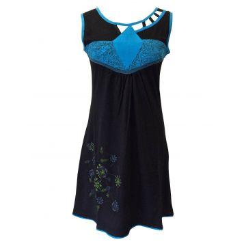 Robe Évasée Mundi col Ouvert noir et turquoise