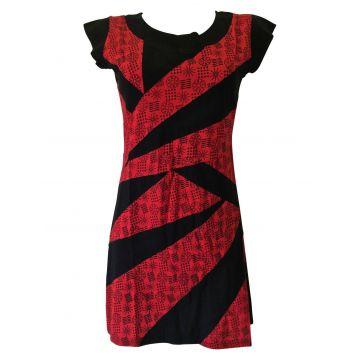 ROBE  ETHNIQUE réf: EV15-09 Noir et Rouge