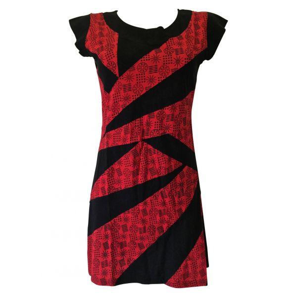 Robe Bogra Ethnique Petites Manches Noir et Rouge