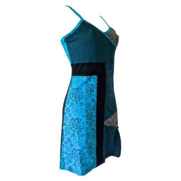 Robe Courte Dhantola Bleu Deux Tons Maille Jersey