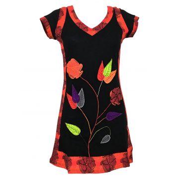 Robe Courte Ethnique Brodé Floral