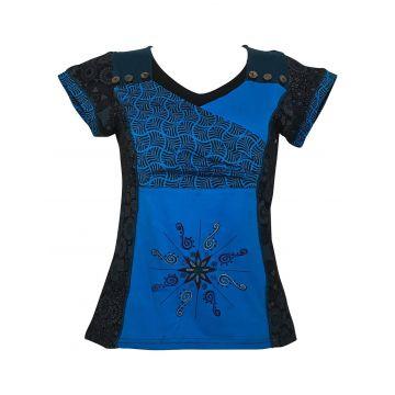 T-Shirt  Manches Courtes Imprimé géométrique Turquoise