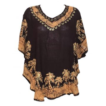 Blouse Caftan Grande Taille Harda BT-410 Choco deux Tons