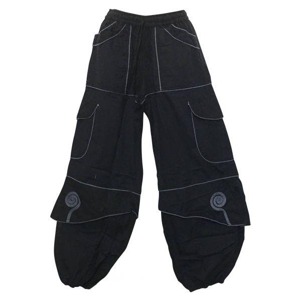 Pantalon Mixte Sarila Noir liseré Gris