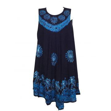 Robe Grande Taille Kotraj Marine Batik Turquoise BT-305