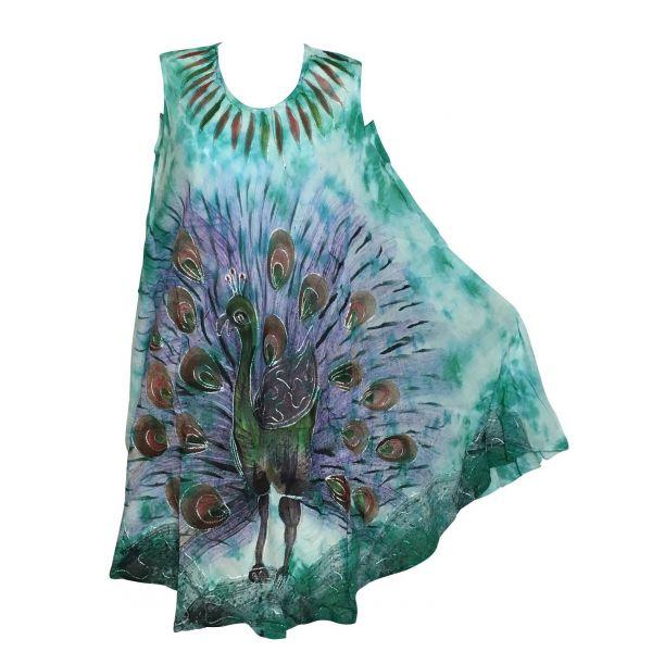 Robe Grande Taille Peacock Peint JK-424 vert Emeraude