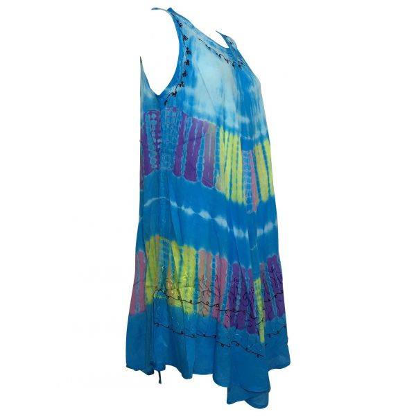 Robe Grande Taille évasée R-31 turquoise