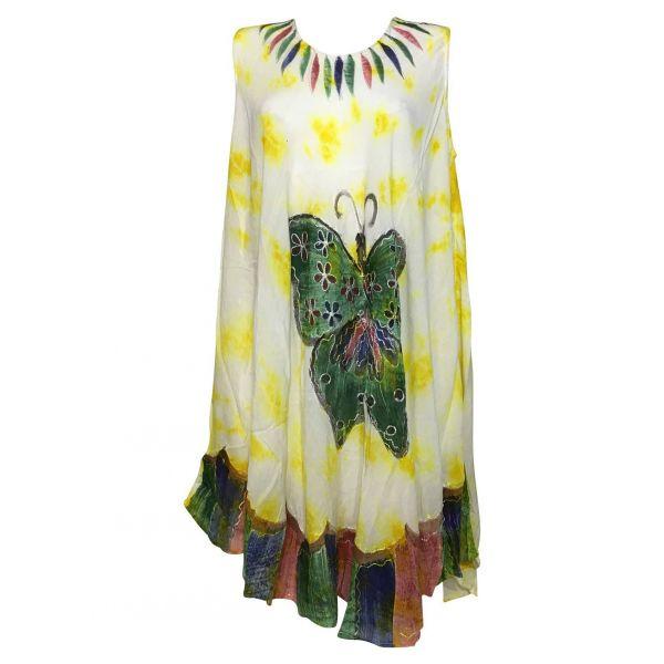 Robe-Asymetrique-Papillon-Peint-main-JK-293-Jaune