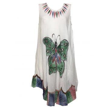 Robe Asymetrique Blanc Papillon Peint Artisanal  JK-293