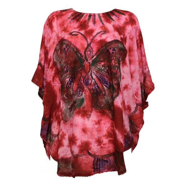 Tunique-Tie-Dye-Kaftan-Grand-Papillon-Peint-JK-1982-rouge