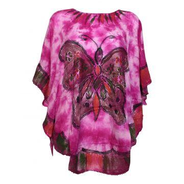 Haut Tie Dye Kaftan Grand Papillon Peint JK-1982 rose