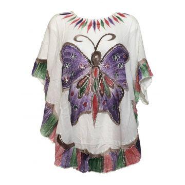 Tunique Blanche Kaftan Grand Papillon Peint JK-1982