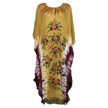 Robe Longue  Kaftan Floral Peint JK-1944 marron de blanc bordeaux