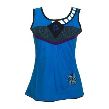 Top Sans Manches Mundi en Maille Jersey Turquoise