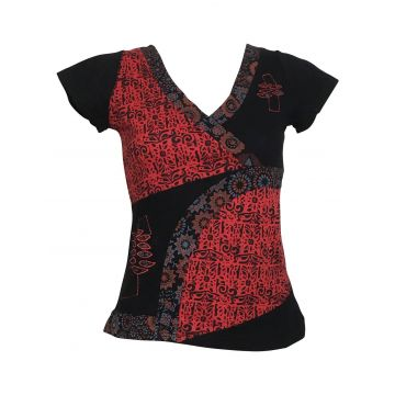 Haut Kulu Mi- Manches en Maille Jersey Noir Rouge