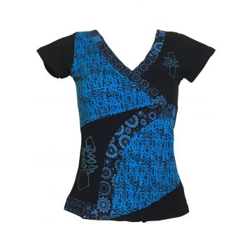 Top Kulu Mi- Manches en Maille Jersey Noir Turquoise
