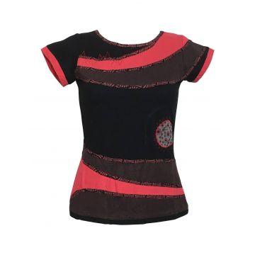 Haut Sosan Mi-Manches en Maille Jersey Noir Rouge Choco