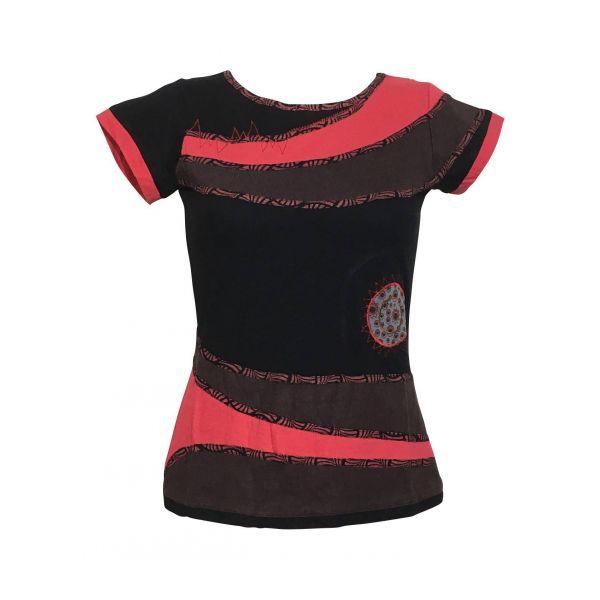 Haut Sosan Mi- Manches en Maille Jersey réf: EV17-03 Noir Rouge Choco