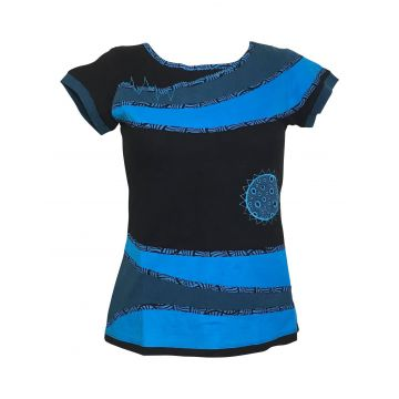 Top Sosan Mi- Manches en Maille Jersey Noir et Bleu