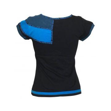 Top Sosan Mi- Manches en Maille Jersey réf: EV17-03 Noir et Bleu