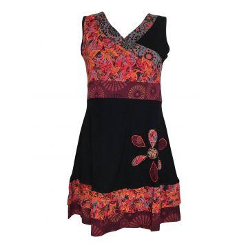 Robe Courte Malana Floral EV17-06 noir rouge bordeaux