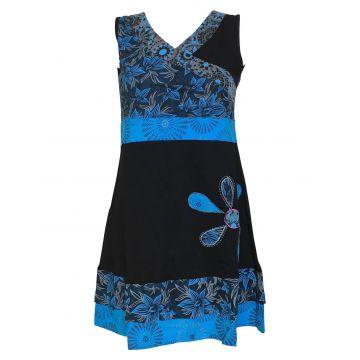 Robe Courte Malana Floral EV17-06 noir et pétrole