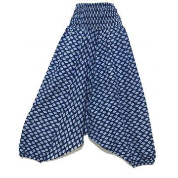 Sarouel Smocks Femme Coton Imprimé Neela Bleu Marine