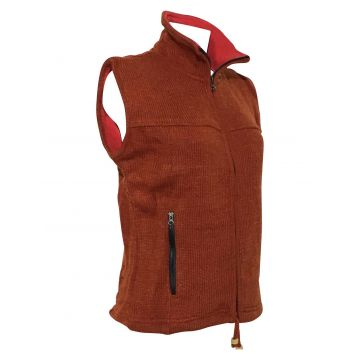 Veste Sans Manche Mixte Laine Orange Brique